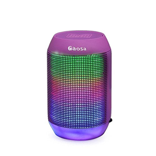 Portable Bluetooth Speaker by Gaosa, Superb Stereo Sound Quality, Enhanced Bass, Long Range Wireless Speaker, Lightweight, Wide Compatibility, Colorful LED Light Design, Micro SD Card Slot (Long Range Wireless Speakers compare prices)