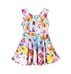Meihuida Baby Girls Dog Cat Pattern Vest Princess Dress 1-7Yrs