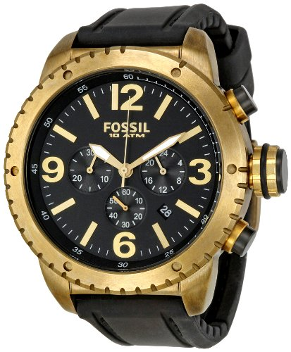 Fossil Men's Vintaged Bronze Chronograph Watch DE5007 With Black Silicone Strap