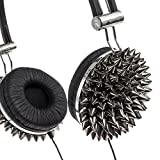 Crystal Case Spiked DJ Stereo Headphones w/ Handsfree Mic (Silver)
