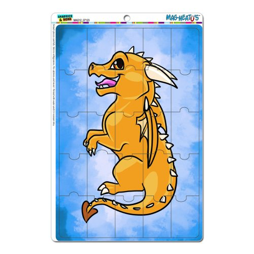 Graphics And More Baby Dragon Gold Yellow Cute Chibi Blue Mag-Neato'S Novelty Gift Locker Refrigerator Vinyl Puzzle Magnet Set front-618327