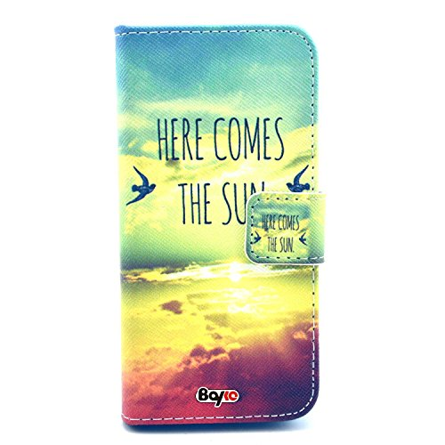 Bayke Brand / Iphone 5 5S Smartphone Fashion Pu Leather Wallet Flip Protective Skin Case With Stand With Credit Card Slots & Holder For Apple Iphone 5 & Iphone 5S (Here Comes The Sun Pattern)