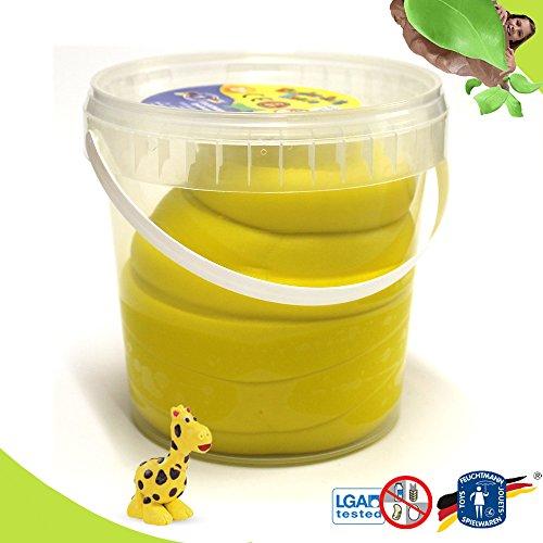 Feuchtmann KNETEIMER Kinder Soft Knete Knetmasse 1 kg gelb im wiederverschließbaren Eimer mit Tragegriff