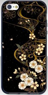 iPhone5 ソフトバンパーケース / ブラック 【和柄-桜流し 柄 / 】