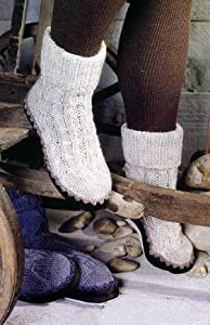Knitting Patterns For Slippers With Leather Soles : Regia Leather Soles For Hand Knitted Slipper Socks - Size 2-3 / 34-35: Amazon...
