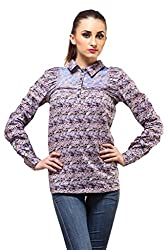 Ladybug Women Full Sleeve Pleated Top in Blue Floral Print