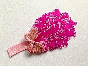 Ibeauty(TM) Lovely Unusal Cotton Girls Baby Rose Red Feather Hairband Headband