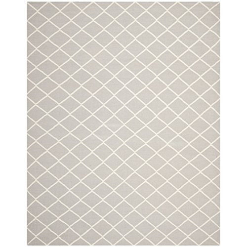 Safavieh Dhurries Collection DHU565G Hand Woven Grey and Ivory Wool Area Rug, 8 feet by 10 feet (8' x 10')
