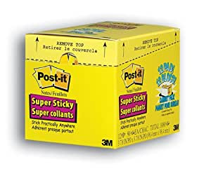 Post-it Super Sticky Notes, 4 x 4-Inches, Canary Yellow, Lined, 12-Pads/Pack