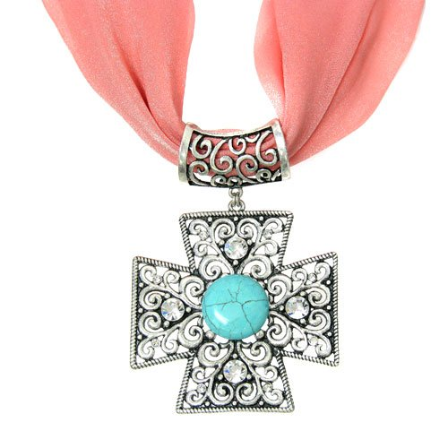 084a 24 Cross Turquoise Silver Plated