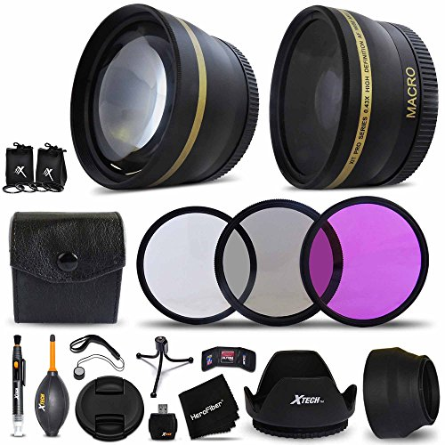 Essential 58mm Accessory Kit for CANON EOS 80D, 70D, EOS 60D 5D, EOS Rebel T5i, T4i, T3i, T2i, XTi, EOS 5D Mark III,1200D 1100D EOS T5, T3, 700D 650D 600D 550D EOS M DSLR Cameras - Includes: 58mm High Definition Wide Angle Lens with Macro Closeup feature, + 58mm High Definition 2X Telephoto Lens + 3 Piece HD Filter Set + + Ring Adapters to from 46-62mm + 58mm Tulip shaped Hard Lens Hood + 58mm Soft Rubber Lens Hood + 58mm Lens Cap + Universal Card Reader + Mini Table Tripod + MORE (Canon Rebel Hood compare prices)