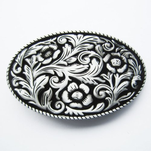 Western Antique Style Oval with Black Belt Buckle