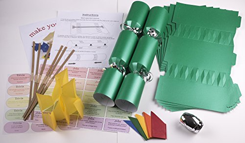 10-x-make-your-own-large-14-35cm-christmas-cracker-kits-green