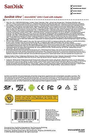 Tarjeta de Memoria Ultra Micro SanDisk Ultra SDXC UHS-Ide 128GB Clase 10, con adaptador SD, negro