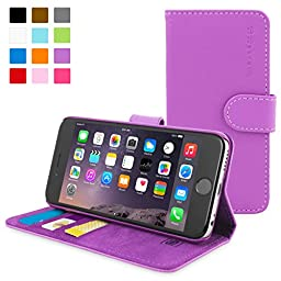 Snugg Leather Wallet Case for Apple iPhone 6 Plus, Purple