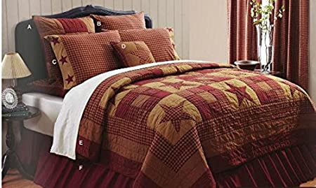 (Ship from USA) NINEPATCH STAR Quilt 1 Queen 2 Quilted Shams 1 Quilted Pillow & 1 Bed Skirt SET .PACKNO-FWEGB41S-1GH6422