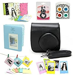 CAIUL Fujifilm Instax Mini 8 Instant Film Camera Accessories Bundles, Black (7 Items)