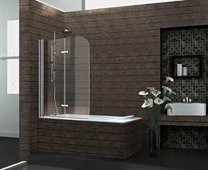 echt glas 6 mm duschabtrennung duschwand faltwand badewanne 120 x 140 cm brease. Black Bedroom Furniture Sets. Home Design Ideas