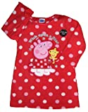 Peppa Pig Nighty Nightshirt Nightdress Red Fleece Pink spots Sizes 1-5 years