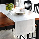 """Loom State Pure Linen Hemstitch Table Runner White 14"""" x 108"""""""