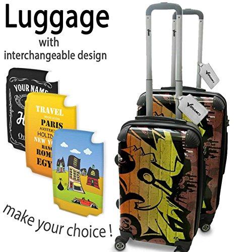Graffiti 10054, Set da 2 Luggage Valigia Bagaglio Ultraleggero Trasportabile Rigido 4 Route Adatto con Disegno Colorato. Dimensione: Formato Cabina S, M