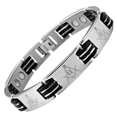 MasonicMan New Mens Titanium Masonic Magnetic Bracelet Free Link Removal Tool