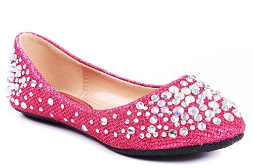 Jjf Shoes Larisa Kids Fuchsia Loafer Slip Rhinestone Fashion Glitter Ballet Flats Shoes-9