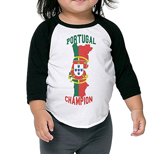 JXMD Kids Boy's & Girl's Portugal Soccer Champion 7 Split Sleeve Black Size 2 Toddler (Sport Champions 2 Ps3 compare prices)