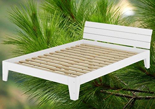 w schickes wei es massivholz bettgestell 120x200 cm mit lattenrollrost. Black Bedroom Furniture Sets. Home Design Ideas