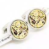 LYMFHCH Vintage Steampunk Silver Round And Gold Movement Watch Functional Mechanical Cufflinks (Color: AI0995)