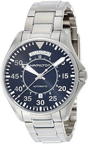 Hamilton Men's 'Khaki Aviation' Swiss Automatic Stainless Steel Dress Watch, Color:Silver-Toned (Model: H64615135) - 51sUC 3MkkL - Hamilton Men's 'Khaki Aviation' Swiss Automatic Stainless Steel Dress Watch, Color:Silver-Toned (Model: H64615135)