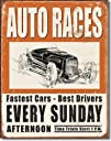 Vintage Auto Races Tin Sign  1221516