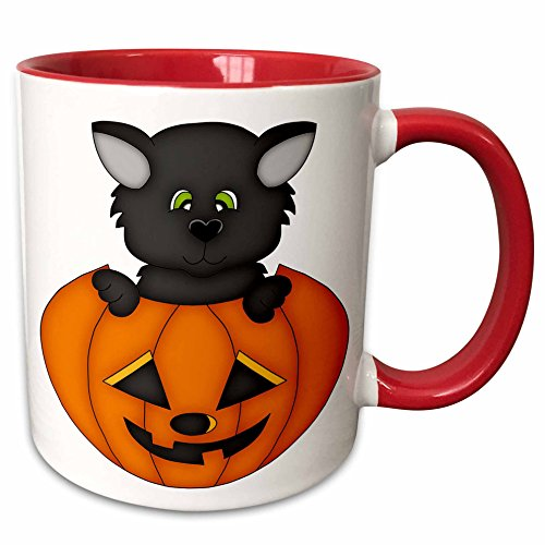 [3dRose Anne Marie Baugh - Halloween - Cute Halloween Cat In A Pumpkin Illustration - 11oz Two-Tone Red Mug] (Cute Halloween Pictures Of Cats)