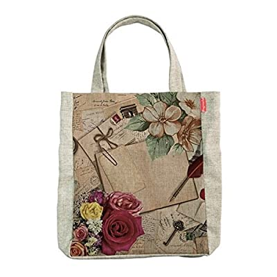 Jute Tote Bag. Slim Travel Tote with Blue Green Pattern and Double Stitched Handles. Versatile and Durable. Perfect As a Gift for the Women, Girls, Students and Grads in Your Life. Great for Shopping, the Beach, Mall or Library. Eco-friendly and Sustainab