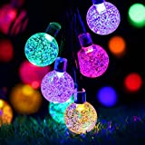 Solar Outdoor String Lights, easyDecor Ball 30 LED 8 Modes 21ft Multi-Color Decorative Christmas Fairy Globe Light Strings for Party, Indoor Decor, Wedding Decorations, Patio, Garden, Holiday, Home