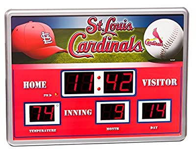 "MLB Licensed 14"" x 19"" Scoreboard Clock and Temperature Board"