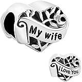 New I Love You My Wife Heart Charms Sale Cheap Beads fit Pandora Chamilia Charm Bracelets Gift