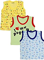 MYFAA Baby Boys' Cotton Regular Fit Vest - Combo of 3 (Multi-Coloured, 3-6 Months)