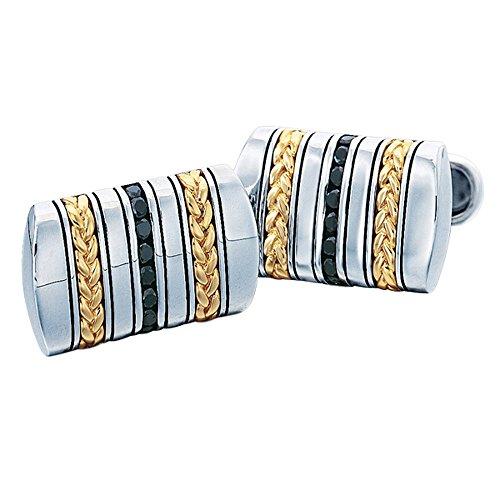 J.Goodman Sterling Silver/18k Gold Black Spinel Cufflinks (J Goodman Cufflinks compare prices)