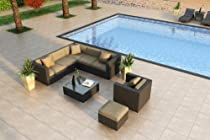 Hot Sale Luxe Urbana 8 Piece Wicker Outdoor Sofa Sectional Set with Sunbrella Heather Beige (5476-0000) Cushions
