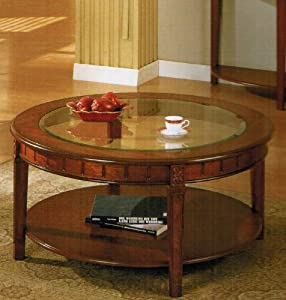 5mm Tempered Glass Top Round Coffee Table In Cherry Finish Kitchen Dining