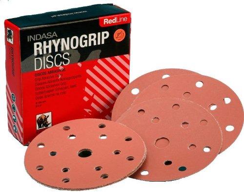 Rhynogrip RedLine P120 Abrasive Discs - Nylon Grip Backing System, 150mm, 15-Hole