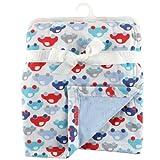 Hudson Baby Printed Blanket with Plush Backing, Blue