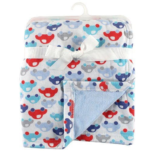 Hudson Baby Printed Blanket With Plush Backing, Blue front-30435