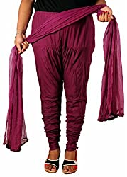 Tinnu G Women's Cotton Churidar and Dupatta Set (TGDP1304_Purple_Free Size)