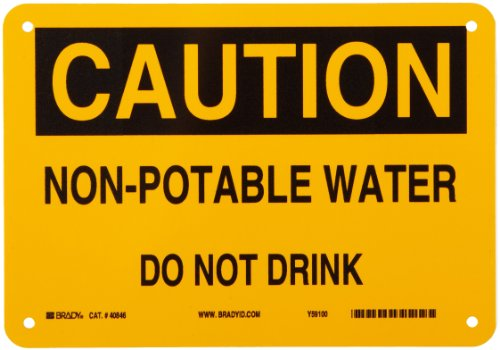 """Brady 40846 10"""" Width x 7"""" Height B-555 Aluminum, Black on Yellow Chemical and Hazardous Materials Sign, Header """"Caution"""", Legend """"Non-Potable Water Do Not Drink"""""""
