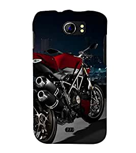 RED COLOUR RACING BIKE ON DISPLAY 3D Hard Polycarbonate Designer Back Case Cover for Micromax Canvas 2 A110::Micromax Canvas 2 Plus A110Q