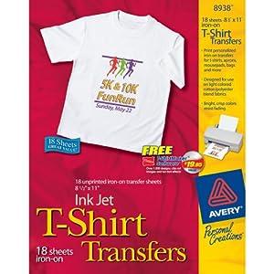 Avery t shirt transfers for inkjet printers for Inkjet t shirt printing