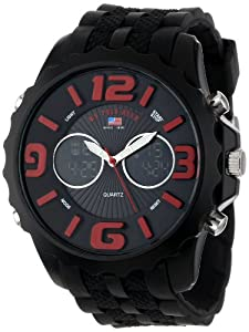 U.S. Polo Assn. Sport Men's US9117 Black Silicone Analog Digital Watch