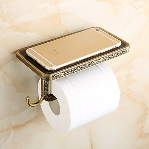 Beelee Wholesale And Retail Antique Carving Toilet Roll Paper Rack wiht Phone Shelf Wall Mounted Bathroom Paper Holder And hook (Preston Inspirations Paper Holder compare prices)
